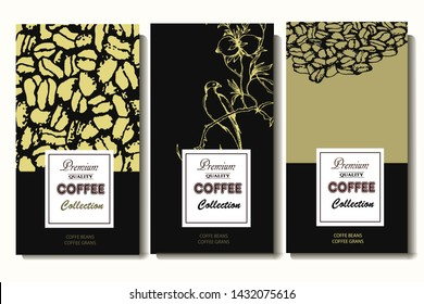 Coffee illustration on label packaging design. Hand drawn vector banner. Coffee beans, leaves, branch, flowers, bird