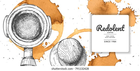 Coffee illustration with coffee stain for product label or packaging.Use by Pen & Ink Sketch Drawing Technique.