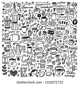 Coffee illustrations set. Hand drawn doodle collection with cups of coffee, coffee beans and desserts