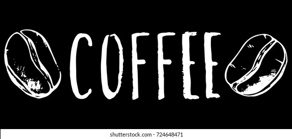 Coffee inscription and bean, white chalk on black vector illustration. Coffee shop or cafe handdrawn logo. Rustic grungy lettering with roasted coffee bean. Coffee bar name or menu title. Hipster cafe