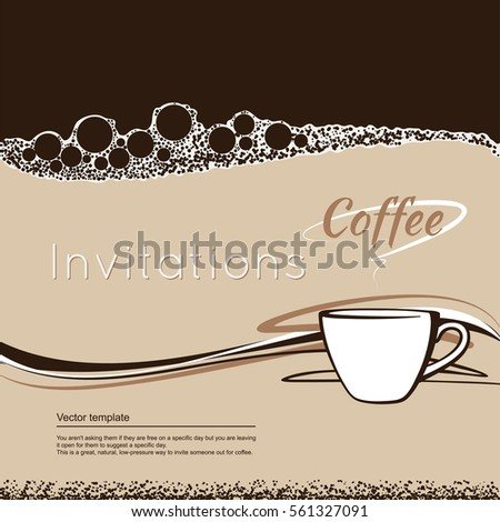 coffee invitations vector invitation template cup stock vector