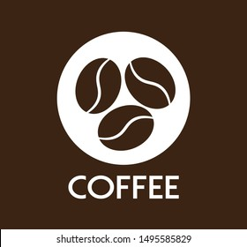 Coffee Label with Coffee Beans, Vector Design