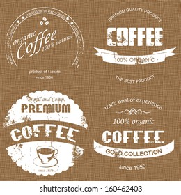 coffee label on sacking