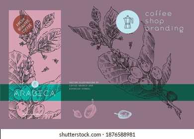 Coffee label template design with branch illustration of coffee beans in engraving style. Specialty coffee package. Retro tag for Arabica. Vintage banner for fresh coffee roasted. Purple background.