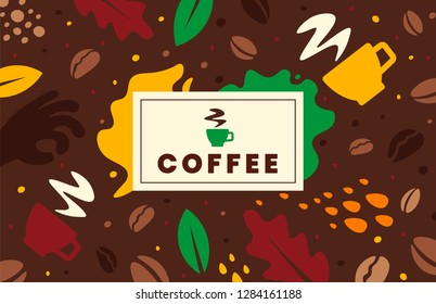 Coffee labels background. Doodle concept.