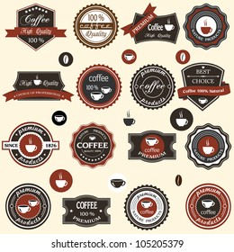 Coffee labels and elements in retro style. Vector set