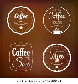Coffee labels set, cafe restaurant menu design, vector