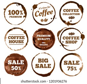 Coffee labels. Watercolor dirty espresso cup ring stain logo. Cups logos stain splash texture with calligraphy. Vector stained insignia restaurant vintage isolated symbol illustration
