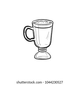 Coffee latte hand drawn outline doodle icon. Delicious latte coffee with whipped foam in a tall glass vector sketch illustration for print, web, mobile and infographics isolated on white background.