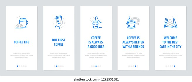 Coffee life, But first, coffee, Coffee is always a good idea, Coffee is always better with a friends, Welcome to the best cafe in the city. Template for website design.
