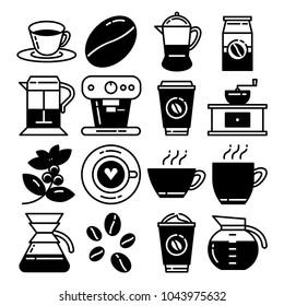 coffee line black and white icon set
