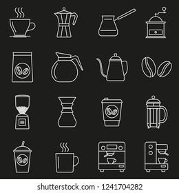 Coffee line icon set.  Outline signs for coffee shop. Vector illustration.