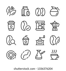 Coffee line icons set. Modern graphic design concepts, simple outline elements collection. Vector line icons