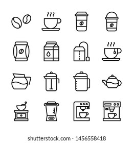 Coffee line icons set vector illustration. Contains such icon as cup, milk, mixer, kettle, pot and more. Editable stroke