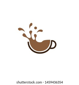 coffee logo design with spill effect, cup