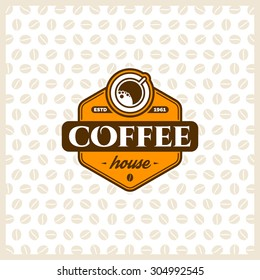 Coffee logo design template with cup. Vector coffee shop labels.