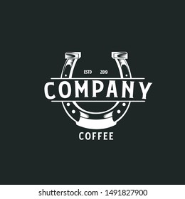 Coffee logo with horseshoe element. can be used for cafes and bakery companies