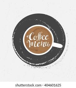 Coffee logo illustration, design cafe menu, hipster grunge vector background.