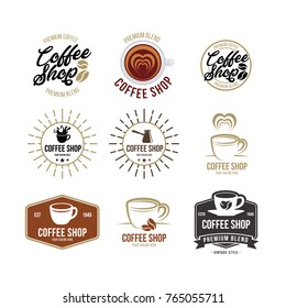Coffee logo - vector illustration, emblem set design on white background