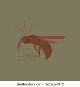 Coffee logo with wasp picture, modern and minimalist retro-style coffee logos for the coffee beverage industry, symbols, badges, negative space logos, unique coffee logo designs