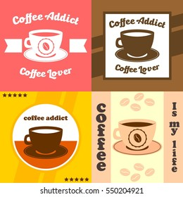 Coffee lover, cafe poster design. Coffee addict t shirt design