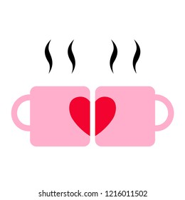Coffee lover, two cups coffee and classic heart shape. Vector illustrations