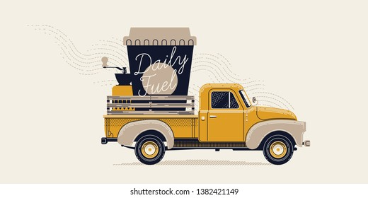 Coffee lovers themed art. Elegant retro styled figurative vector illustration of old truck carrying giant take away paper coffee cup with handwritten lettering and coffee grinder