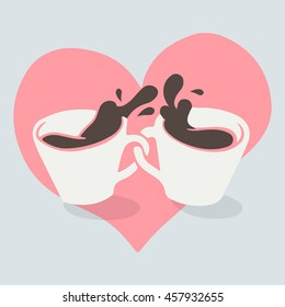 Coffee lovers. Two cup of coffee and a heart vector illustration.