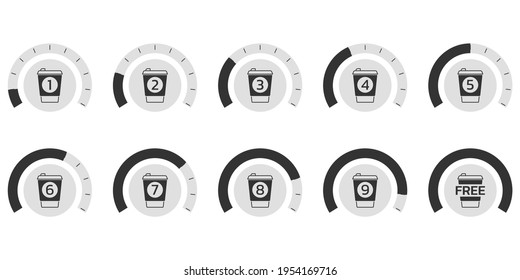 Coffee loyalty card concept with take away coffee cup icons. Buy 9 cups and get 1 for free. Cafe beverage promotion design template. Vector illustration.