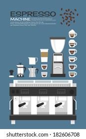 Coffee machine - accessories icons design, vector