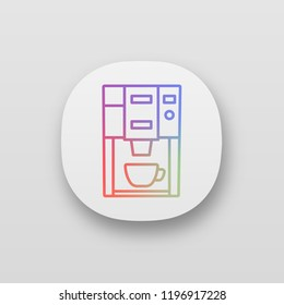 Coffee machine app icon. UI/UX user interface. Electric coffeemaker. Coffee house or cafe appliance. Web or mobile application. Vector isolated illustration