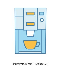 Coffee machine color icon. Electric coffeemaker. Coffee house or cafe appliance. Isolated vector illustration