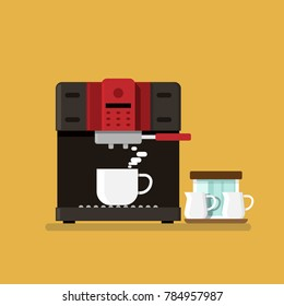 Coffee machine and Coffee cup flat style. isolated on background. vector illustration