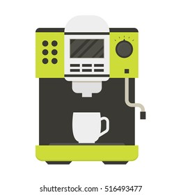 Coffee Machine with a Cup Icon Can Be Used For Home, Restaurant, Cafe or Office. Flat Design Style. Vector illustration. Steel Espresso pot icons for  kitchen