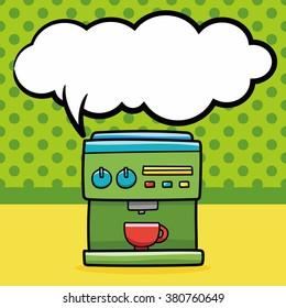 coffee machine doodle, speech bubble
