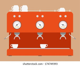 Coffee Machine Flat Design
