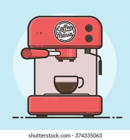 Coffee machine with a hot coffee cup. Flat design vector illustration.