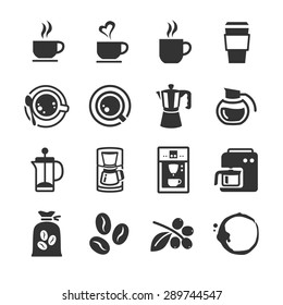 Coffee and coffee machine icon. Included the icons as cafe, shop, seed, bag, stain, drinks and more.
