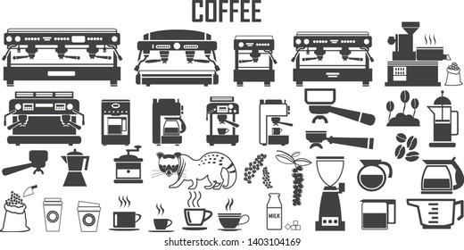 coffee machine icon vector mono symbol.