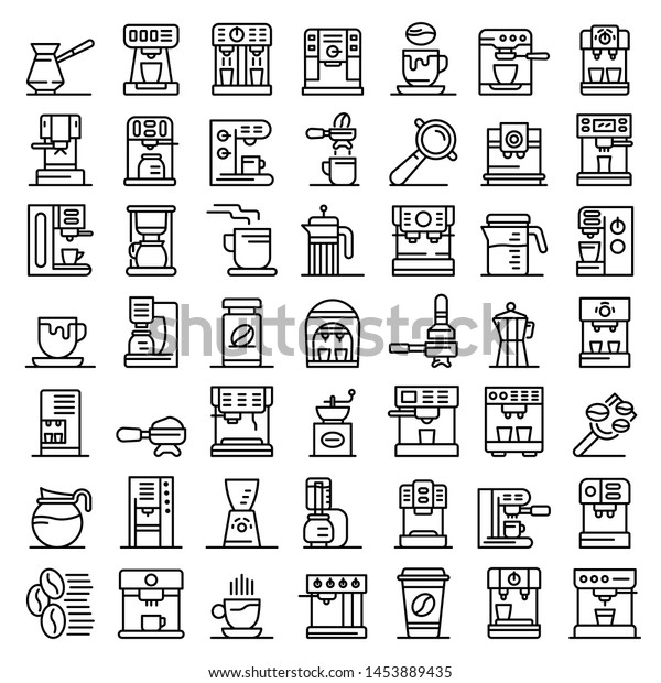 Coffee machine icons set. Outline set of coffee machine vector icons for web design isolated on white background