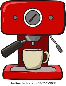 Coffee machine, illustration, vector on white background.