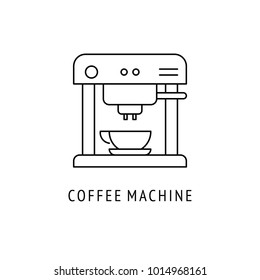 Coffee machine Kitchen appliances. Icon in thin line style