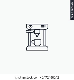 Coffee machine, linear style sign for mobile concept and web design. Symbol, logo illustration. Pixel perfect vector graphics