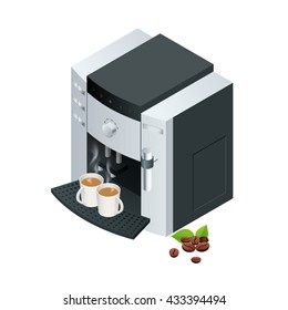 Coffee machine makes two coffee with coffee beans on write background. Flat 3d isometric vector illustration. For infographics and design.