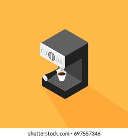 Coffee machine making a cup of coffee isometric flat design, vector illustration
