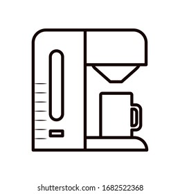 Coffee machine with mug line style icon design of time drink breakfast beverage shop morning store aroma and caffeine theme Vector illustration