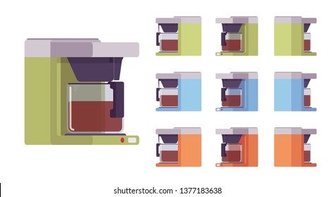 Coffee machine set, kitchen and cafe equipment. Home coffeemaker or shop device, real barista experience. Vector flat style cartoon illustration isolated on white background, different views, colors