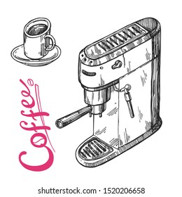 Coffee machine sketch. Hand drawn vector illustration. Premium coffe for a better morning.