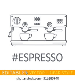 Coffee machine thin line icon. Easy editable stroke outline. Line pictogram, infographics and web element picture.