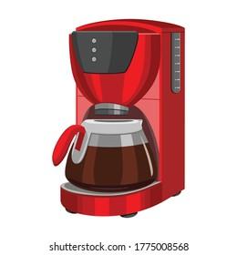 Coffee machine vector cartoon icon.Isolated illustration cartoon icon maker espresso. Vector illustration coffee machine on white background.